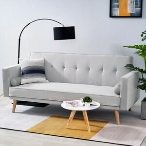 Modern 3 Seater Fabric Sofa Bed Padded Click Clack Settee
