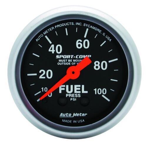 Autometer Sport-Comp 52mm 0-100 PSI Mechanical Fuel Pressure Gauge am3312