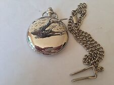 A12 Roe Trophy   polished silver case mens GIFT quartz pocket watch fob