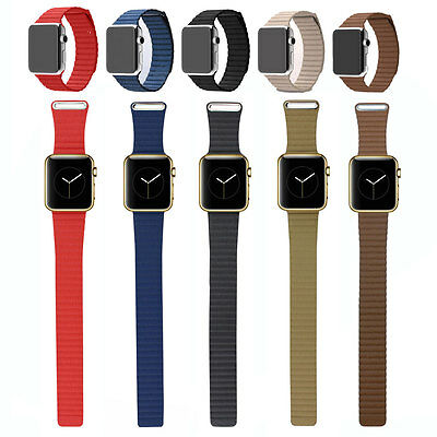 Genuine Leather Loop Type Watch Band Strap Magnetic Buckle For All Apple Watch 2