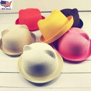 d519415c065 Cute Summer Baby Sun Hat Children Cartoon Ears Straw Cap Kids Boy ...