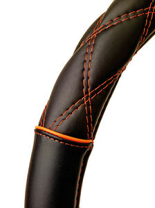 Sumex-Soft-Leather-Car-Steering-Wheel-Cover-Black-with-Orange-Cross-Stitching