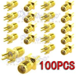100pcs-SMA-Female-Jack-Solder-Edge-1-6mm-space-PCB-Mount-Straight-RF-Connector