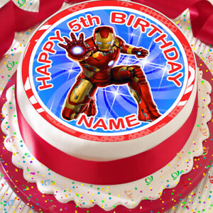 Personalised 7.5inch circular IRON MAN edible Rice Paper CAKE TOPPERS