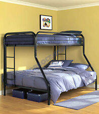 Twin over Full Bunk Bed Metal Beds for Kids Space Saver Teen Dorm Loft Furniture