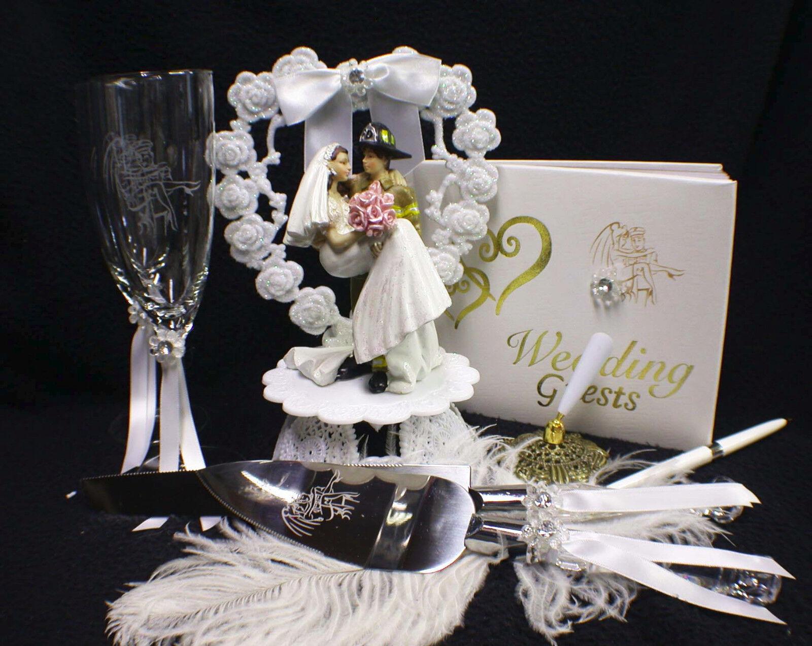 Fireman Fire Fightert Officer Wedding Cake Topper Glasses server Knife Book LOT