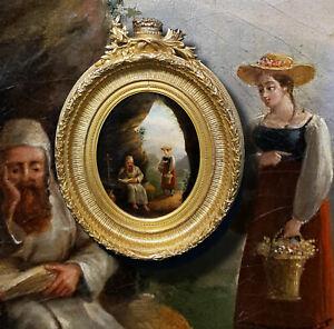 Eremit-in-seiner-Hoehle-Antikes-Olgemaelde-Italien-Osterreich-18-Jahrhundert