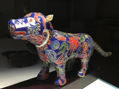 China Old Copper Cloisonne Enamel Feng Shui Animal Tiger Leopard Statue QQF15739