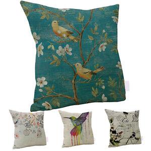 Am-KE-AU-Linen-bird-Art-Oil-Painting-Throw-Pillow-Case-Sofa-Decor-Cushion-Cov
