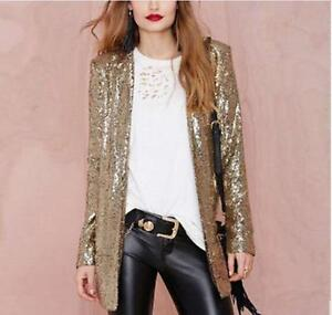 590e483f5c6b Womens Silver Gold Suit Blazer Sequin Coat Long Sleeve Bling Shinny ...