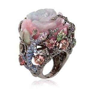 Vintage-Women-Mutli-Color-Gemstone-Wedding-Engagement-18K-Black-Gold-Filled-Ring