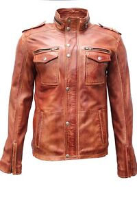 Style Real Red Soft Casual Deluxe Biker Crust Jacket Leather Men's City Lambskin pqB6Bn