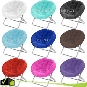 Miraculous Details About Stylish Folding Urban Shop Faux Fur Saucer Chair Steel Frame Living Room Dorm Alphanode Cool Chair Designs And Ideas Alphanodeonline