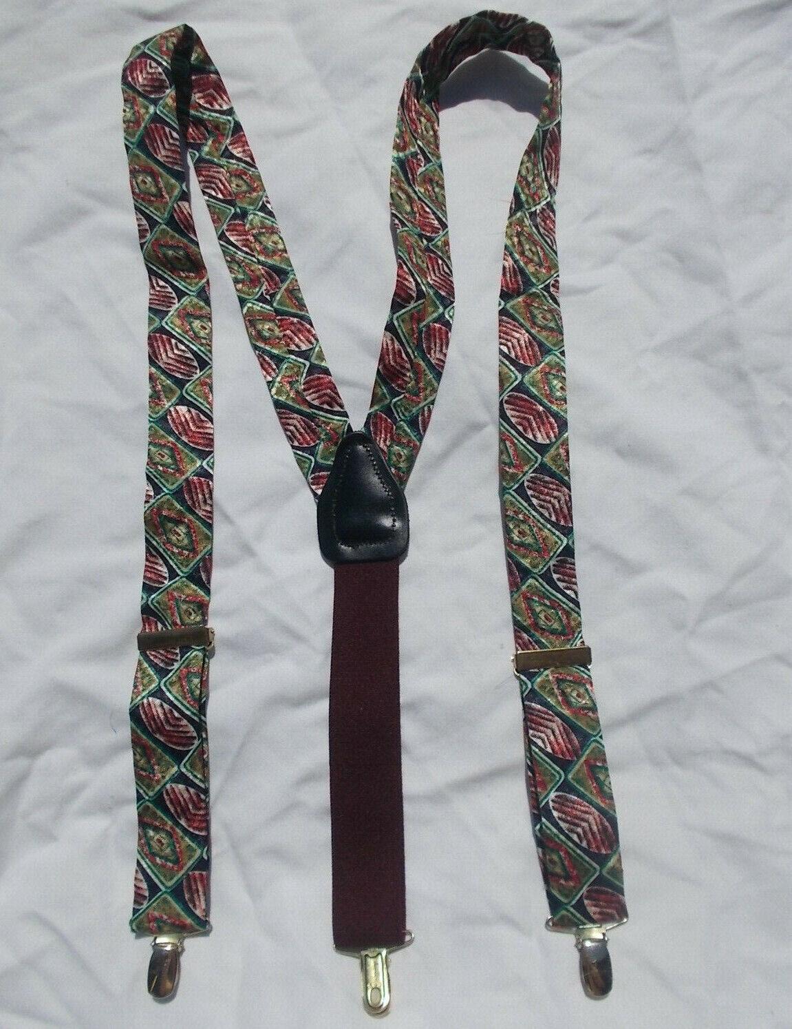 Pants Clip Silk ? Suspenders Burgundy Green Black Mens Gold Tone Clips