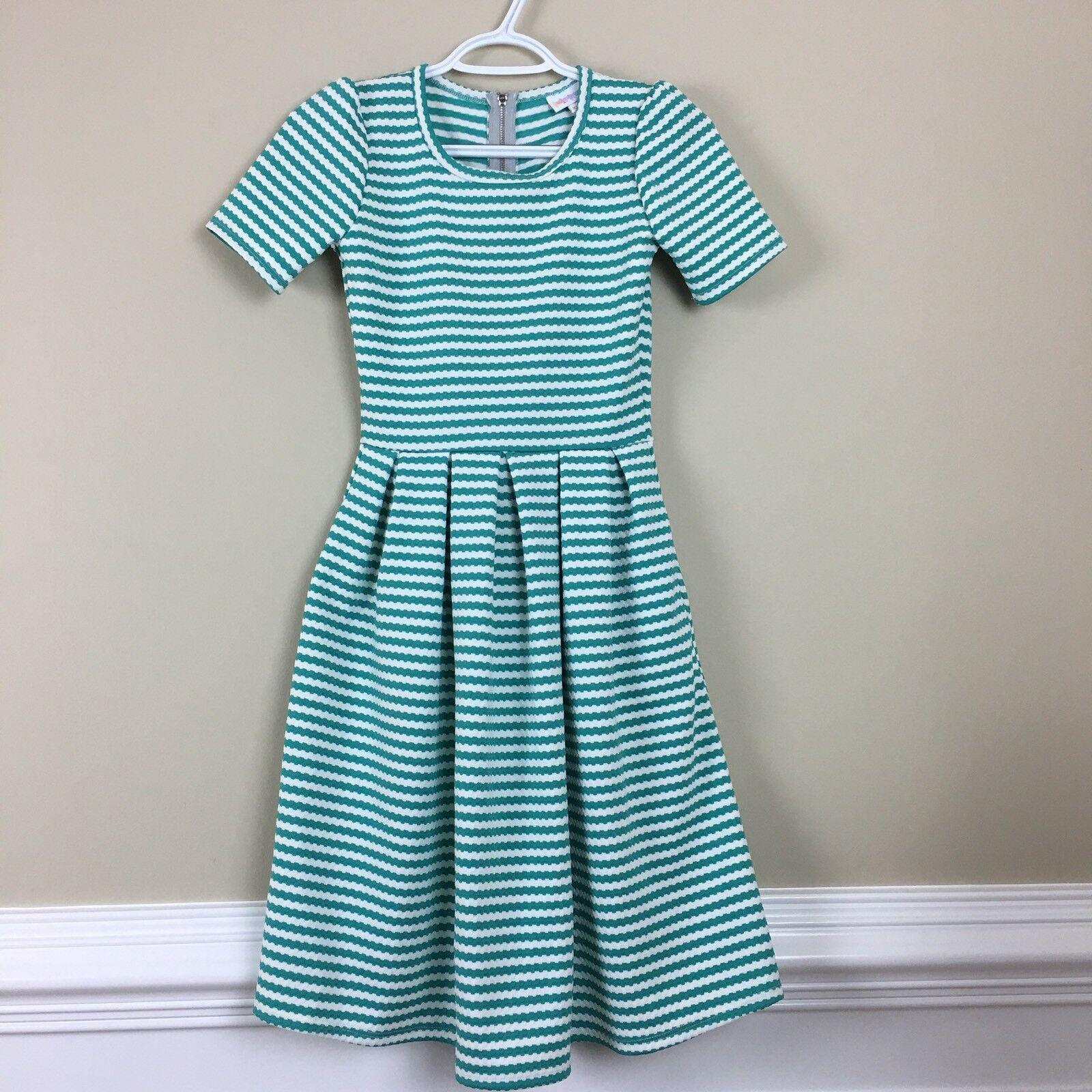 LuLaRoe Green Striped Short Sleeves Dress XXS