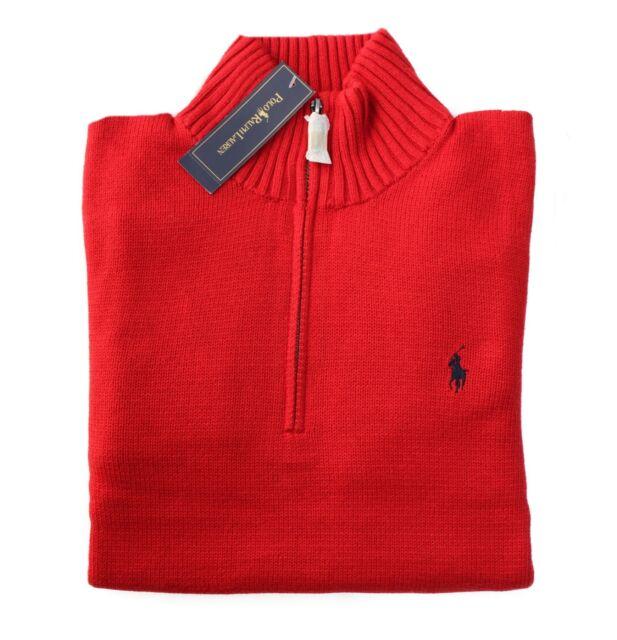 4c98784f17862 Polo Ralph Lauren Sweater Men XL Red 1 2 Zip Solid Long Sleeve ...