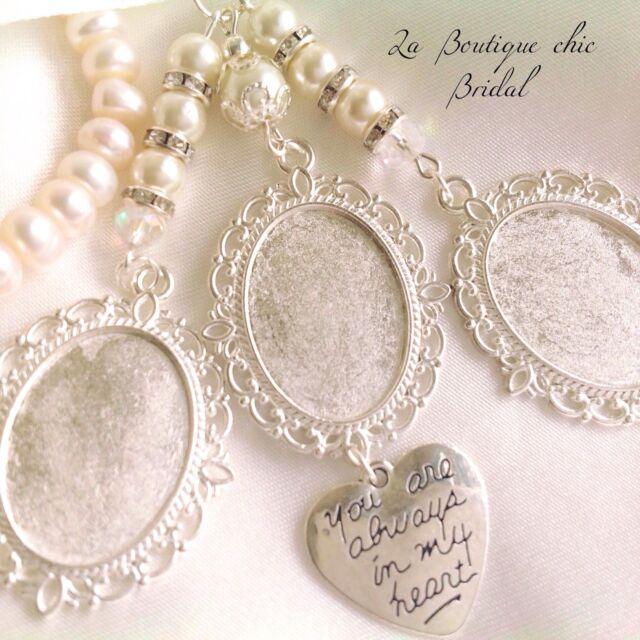 heart buttonhole photo pendant Gold Bouquet memory charm wedding memorial