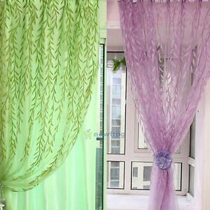 Willow-Leaf-Tulle-Voile-Door-Window-Curtain-Drape-Panel-Sheer-Scarf-Valance-New