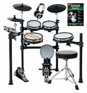 Digital E-Drum Set Elektronisches Schlagzeug Drumkit Mesh Heads Hocker Kopfhörer