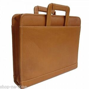 Piel-Leather-Full-Grain-Colombian-Leather-Three-Ring-Binder-Saddle-Briefcase-New