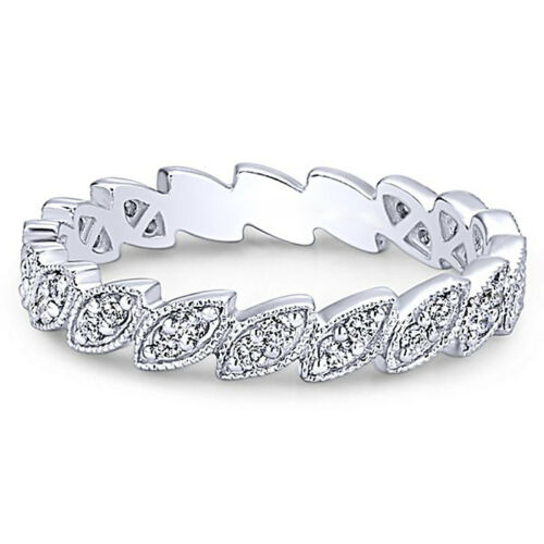 Fashion 925 Silver,rose gold Wedding Rings Marquise Cut White Sapphire Size 6-10