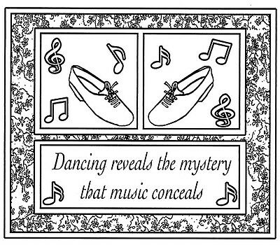 Music Floral Dance Frame Unmounted Rubber Stamps Tap Shoes /& Dance Saying