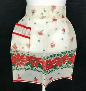 Vintage Half Waist Apron Christmas Sheer Poinsettia Holly Red White Green Pocket