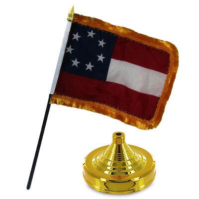 "Wholesale Lot of 12 Stars and Bars 7 Gold Fringe 4/""x6/"" Desk Table Stick Flag"
