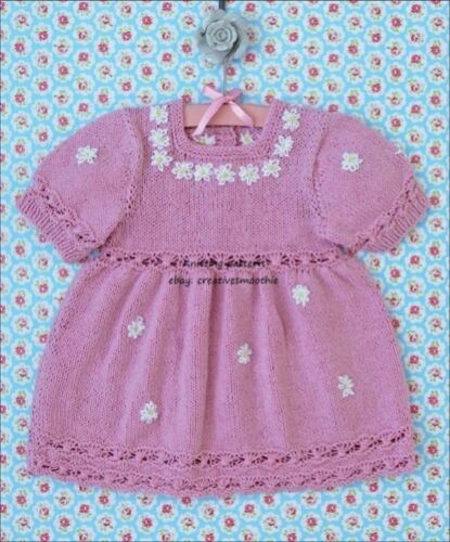 BABY GIRLS SWEET SUMMER DRESS DK COTTON KNITTING PATTERN 696 3-18M