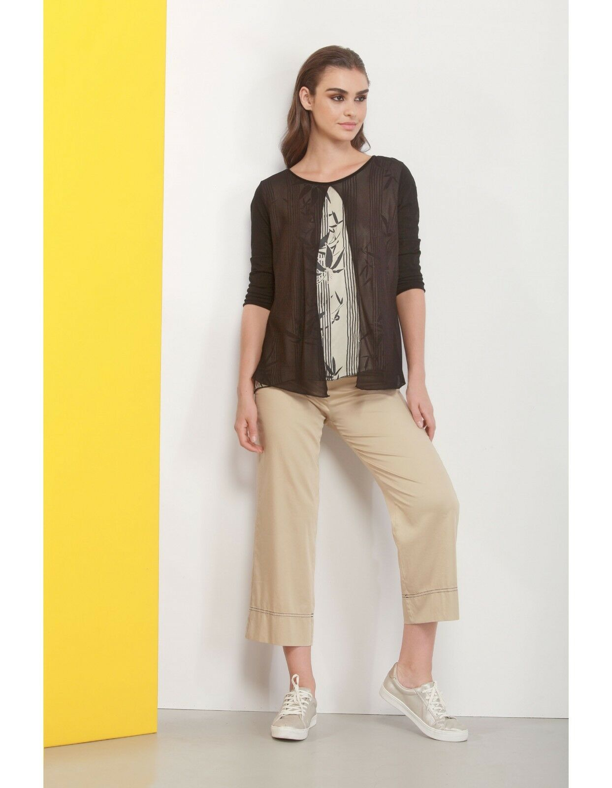 T-shirt doppia Deha manica 3 4 donna cotone viscosa viscosa viscosa moda casual nero girocollo b5a0a0