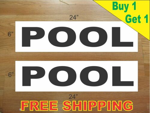 "POOL BLACK 6/""x24/"" REAL ESTATE RIDER SIGNS Buy 1 Get 1 FREE 2 Sided Plastic"