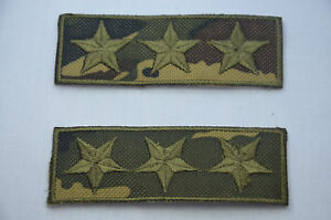 2pc-ARMY-MILITARY-CAMO-3-STAR-Embroidered-Iron-Sew-On-Cloth-Patch-Badge-APPLIQUE