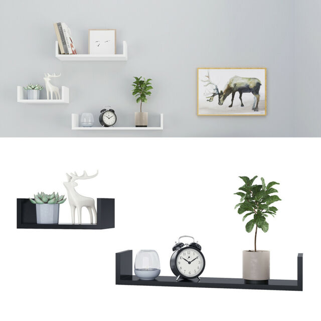 Set Of 3 U Shape Floating Wall Shelves Storage Display Shelf Stand Shelving Unit