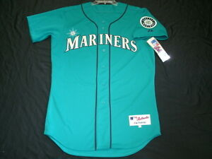 best service eb989 19d5c Details about Authentic Majestic, 52 2XL, SEATTLE MARINERS, TEAL GREEN ON  FIELD Jersey, SHARP!