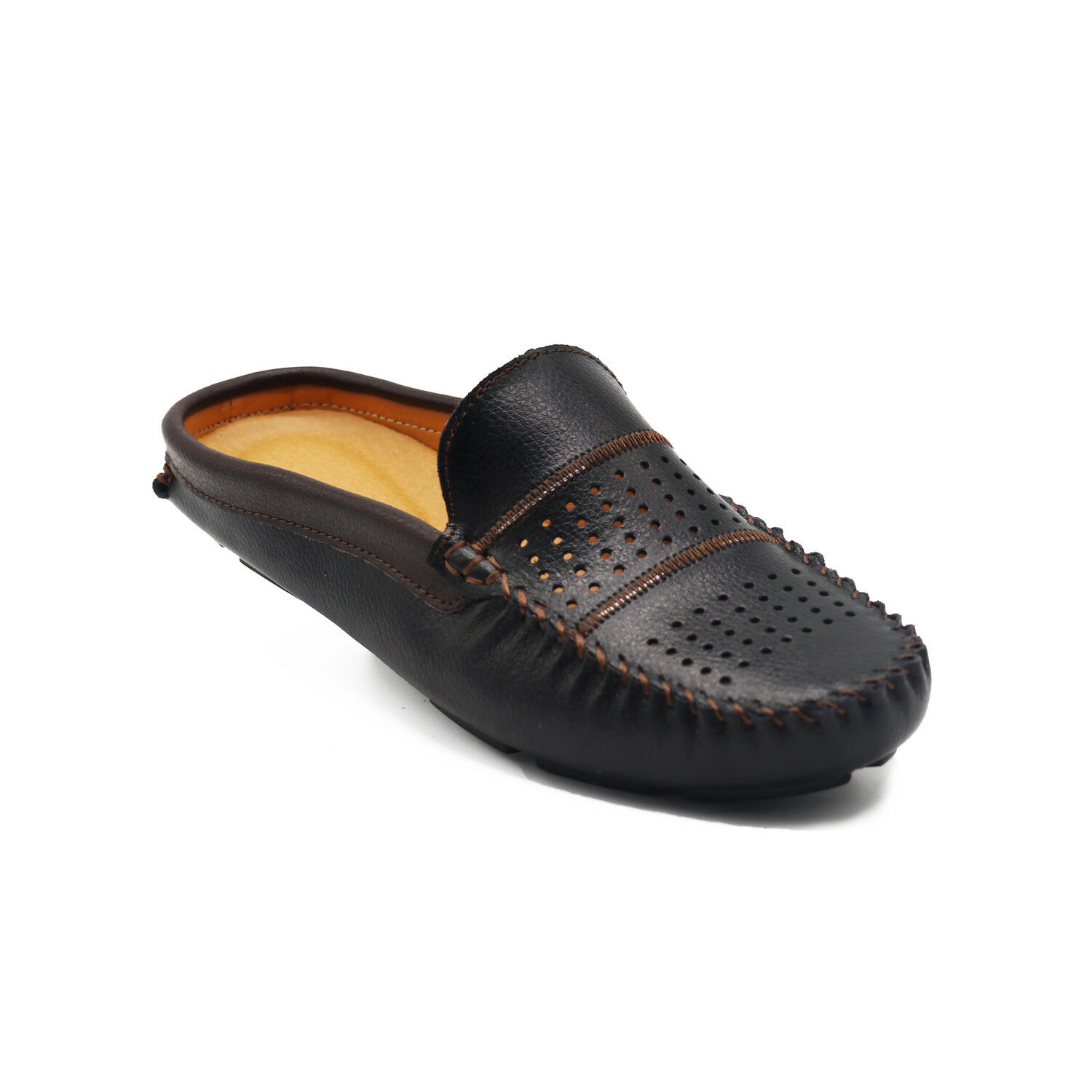 Mens Fashion Leather Breathable Loafers Slip On Mule Slippers Casual Flats shoes