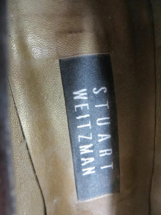 Stuart Größe Weitzman Schuhes Braun Größe Stuart 7M Suede Block Heel d7fd0a