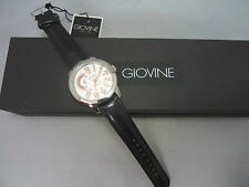 Giovine Men's Silver Tone Quartz Italian Watch w Black Leather Band. Italy