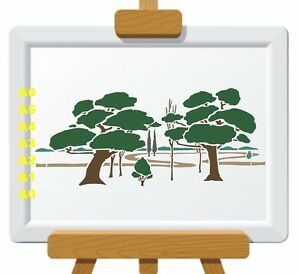 Woodland-scene-Stencil-350-micron-Mylar-not-thin-stuff-Tree001