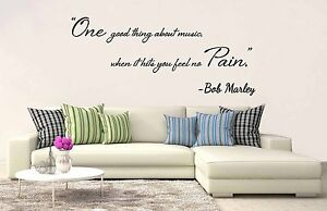 Bob Marley One Good Thing About Music Wall Art Vinyl Decal Quote ...