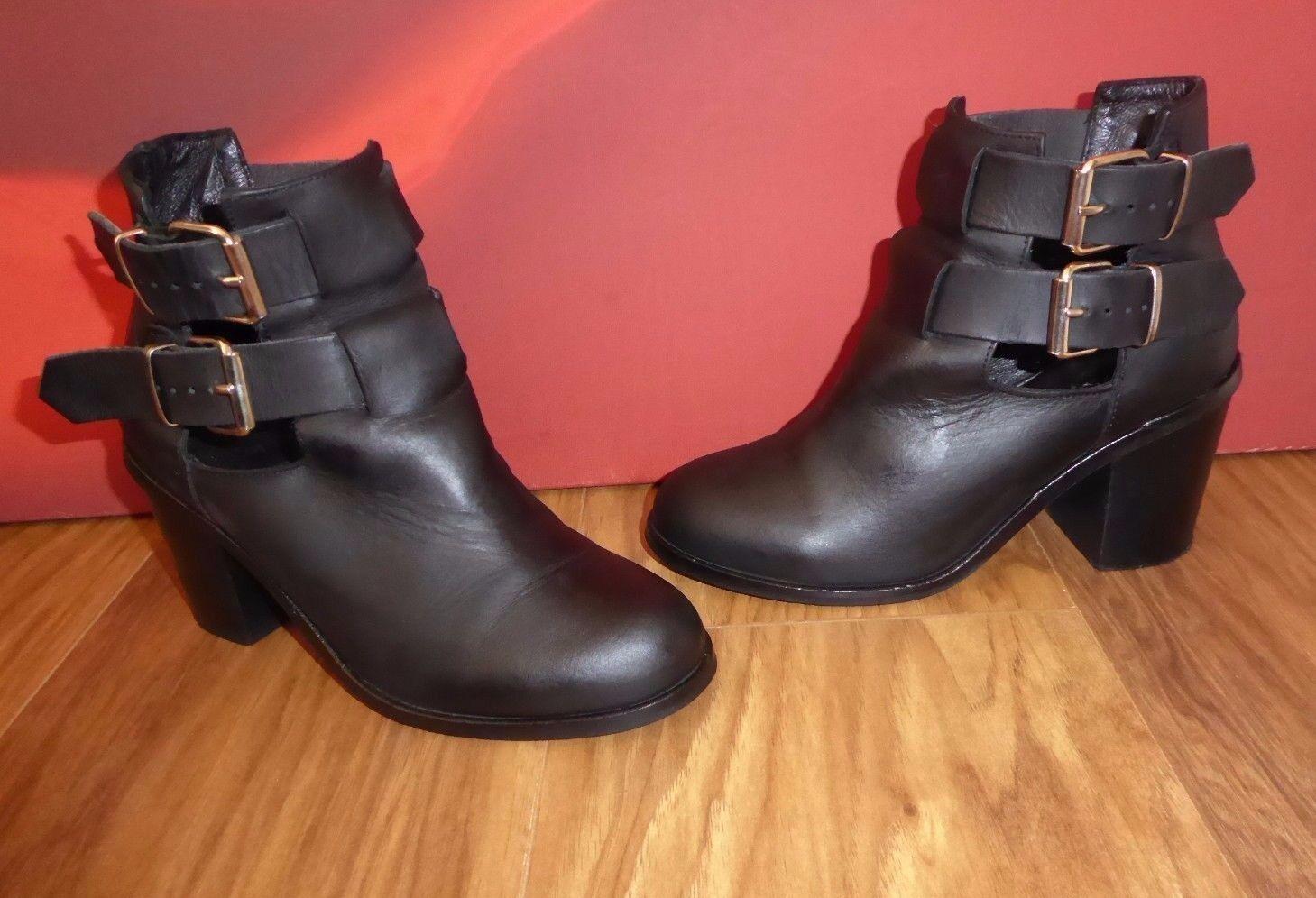 *34* Superb OFFICE Black leather  ankle boots shoes EU 36 UK 3.5