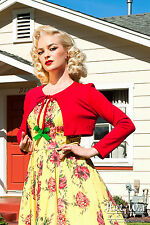 PINUP GIRL CLOTHING, LAURA BURNS Ponte Tie Bolero in Red NWT Sz XSmall