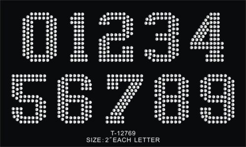 """2/"""" Block LETTERS number iron-on HOTFIX MOTIF RHINESTONE patch colledge font DIY"""