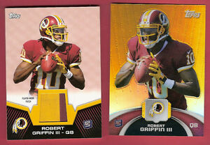 ROBERT-GRIFFIN-III-RG3-ROOKIE-JERSEY-PATCH-CARD-amp-TOPPS-CHROME-REFRACTOR-REDSKINS