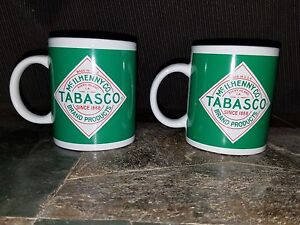 2 Vintage Green Tabasco Coffee Mug Tea Cup Hot Sauce Mcilhenny Co.