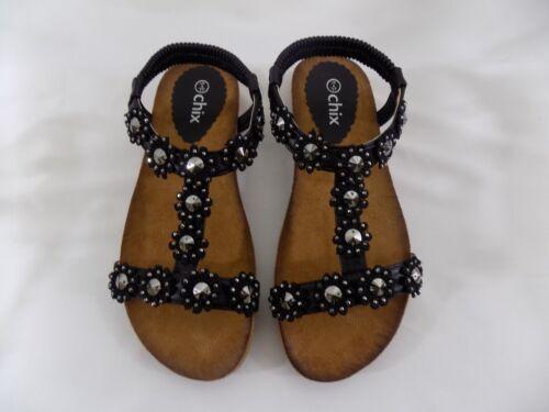 Ladies Faux Leather Open Toe Elastic Sling Back Flower Stud T Bar Summer Sandals