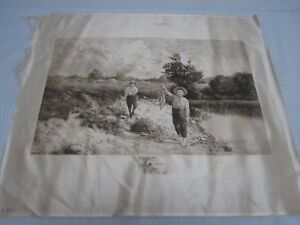 ANTIQUE-1884-PRINTED-SILK-OF-PAINTING-by-BENJAMIN-LANDER-OF-2-BOYS-FISHING