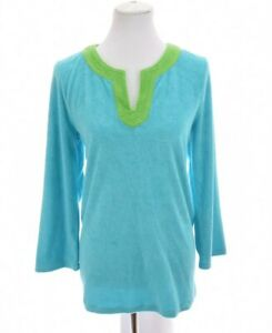 Talbots-Womens-Terry-Cloth-Tunic-Top-Swim-Cover-Up-Blue-Sz-LP-Petite-Large