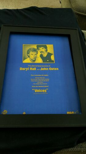 Hall & Oates Voices Rare Original Promo Poster Ad Framed!