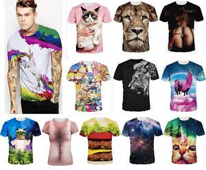 Fashion Men's Womens 3D Galaxy Kitten Print Casual Short Sleeve Tee Tops T-Shirt