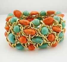 Joan Rivers Nugget Expansion Bracelet  Coral/Turquoise